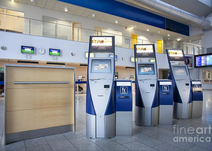 Air Travel Greeting Card featuring the photograph Airport Check In Terminals by Jaak Nilson