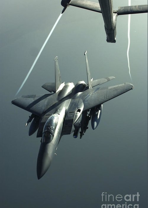 Color Image Greeting Card featuring the photograph An F-15e Strike Eagle Flies Over Iraq by Stocktrek Images