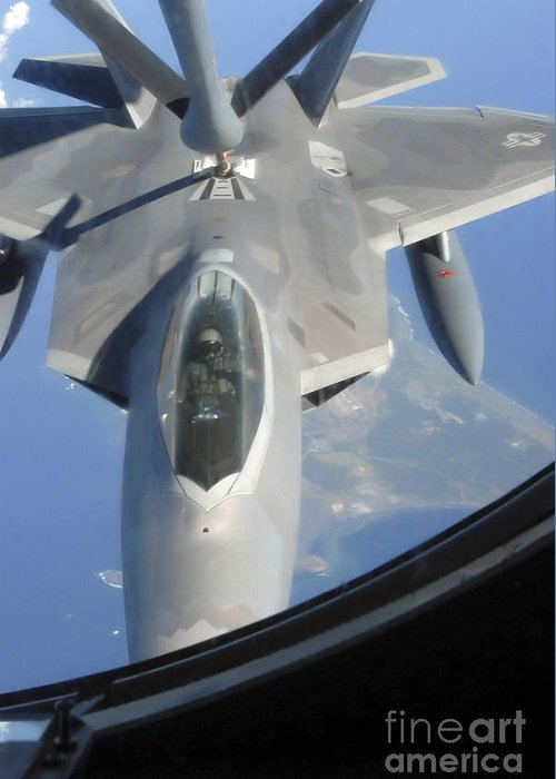 Adults Only Greeting Card featuring the photograph An F-22 Raptor Receives Fuel by Stocktrek Images