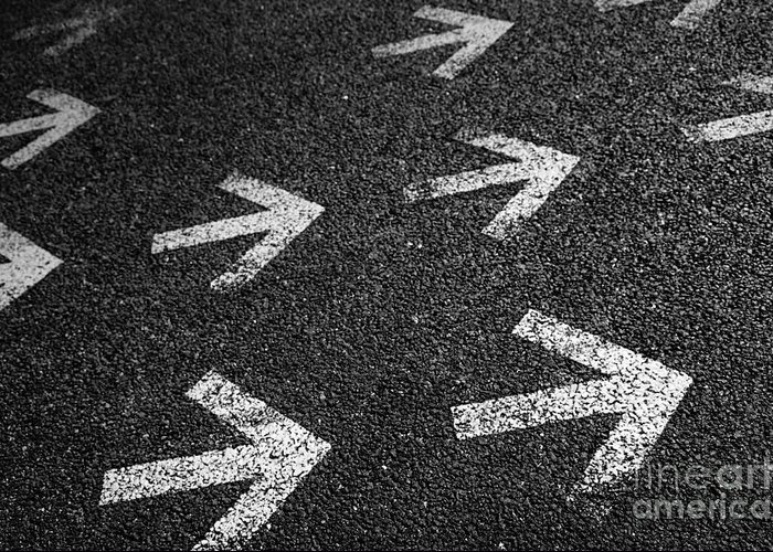 Abstract Greeting Card featuring the photograph Arrows On Asphalt by Carlos Caetano