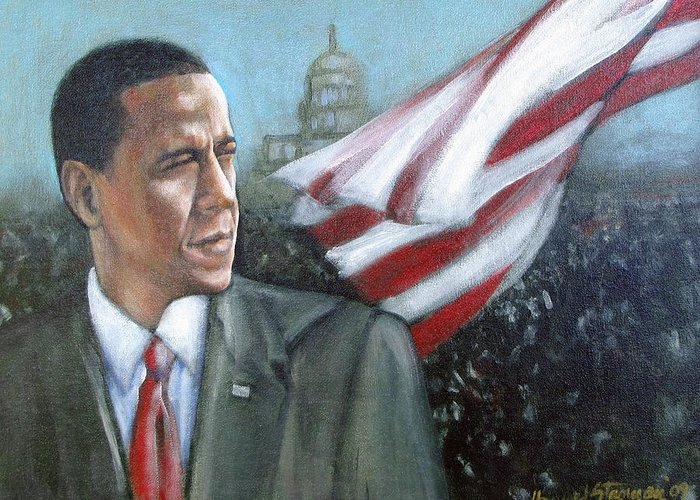 Barack Obama;president;presidential;whitehouse;etc Greeting Card featuring the painting Barack Obama by Howard Stroman
