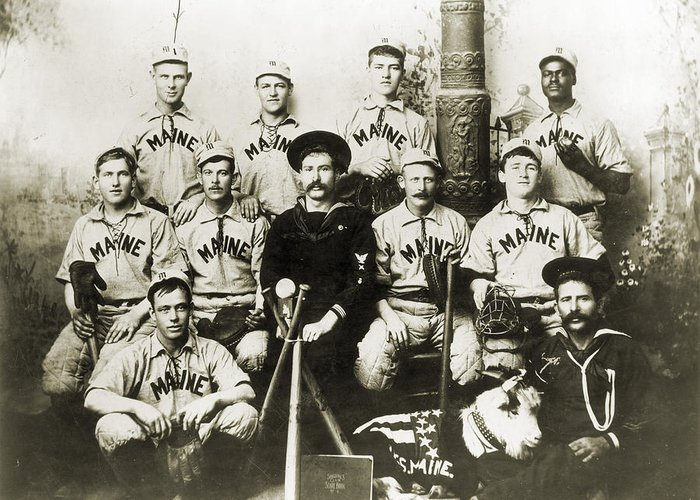 1898 Greeting Card featuring the photograph Baseball Team, C1898 by Granger