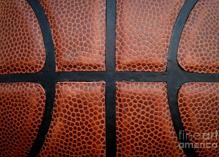 Background Greeting Card featuring the photograph Basketball - Leather Close Up by Ben Haslam