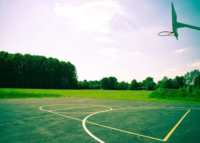 Ball Greeting Card featuring the photograph Basketball Court by Tom Gowanlock