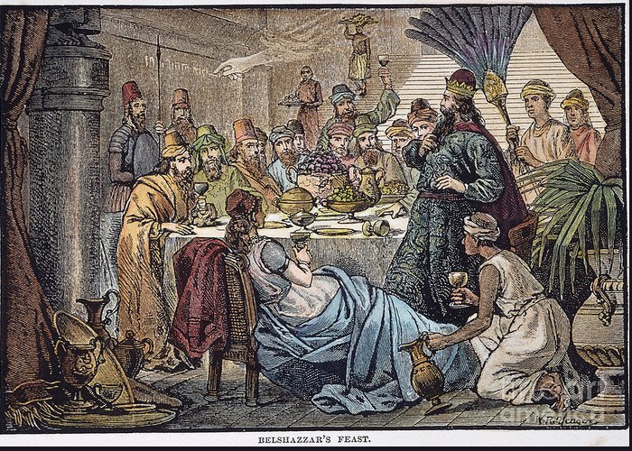 Belshazzar Greeting Card featuring the photograph Belshazzars Feast by Granger