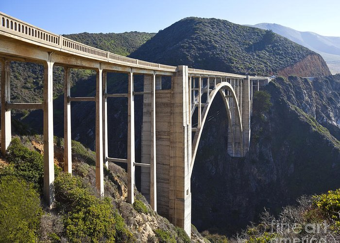 Architectural Detail Greeting Card featuring the photograph Bixby Bridge Crossing A Chasm by David Buffington