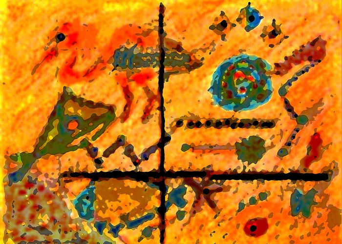 Abstract Greeting Card featuring the mixed media Bliss Is A Constant by Patricia Januszkiewicz