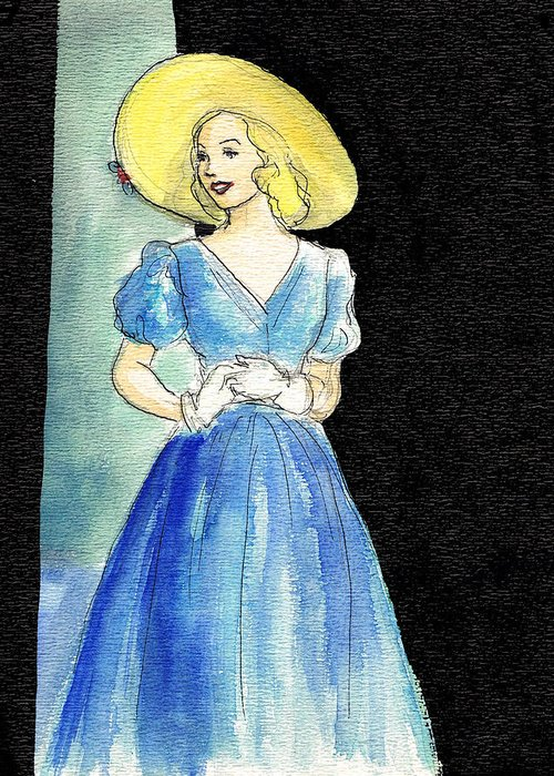 Nostalgia Greeting Card featuring the drawing Blue Gown by Mel Thompson