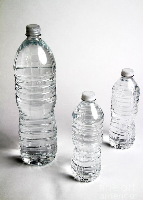 Still Life Greeting Card featuring the photograph Bottled Water by Photo Researchers