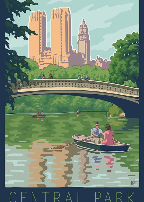 Bow Bridge Greeting Card featuring the digital art Bow Bridge In Central Park by Mitch Frey