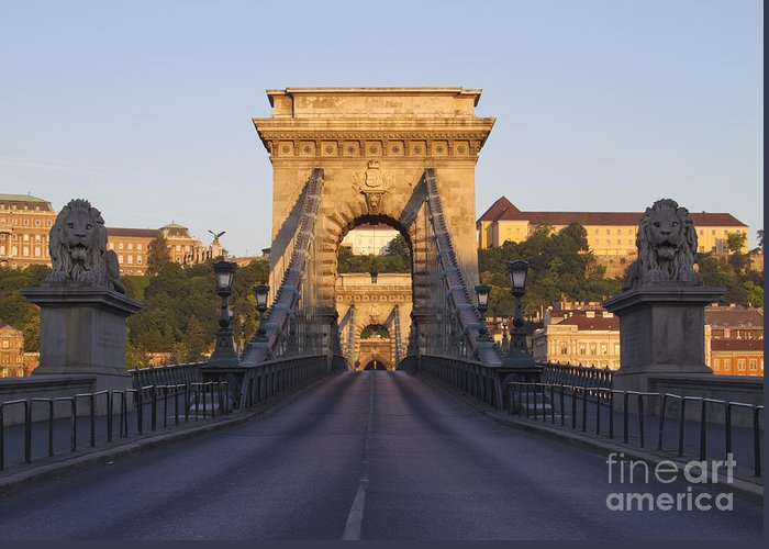 Budapest Greeting Card featuring the photograph Bridge by David Buffington