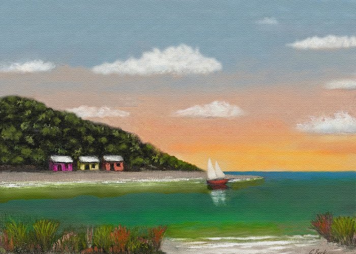 Tropical Seascape Colorful Cottages Sunset Trees Sea Ocean Vista Beach Water Sailboat Sailing Inlet Bay Coastal Beautiful Contemporary Pastel G. Greeting Card featuring the painting Canary Cove by Gordon Beck