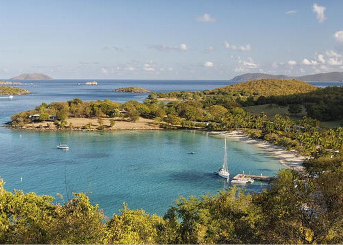 Daytime Greeting Card featuring the photograph Caneel Bay Panorama by George Oze