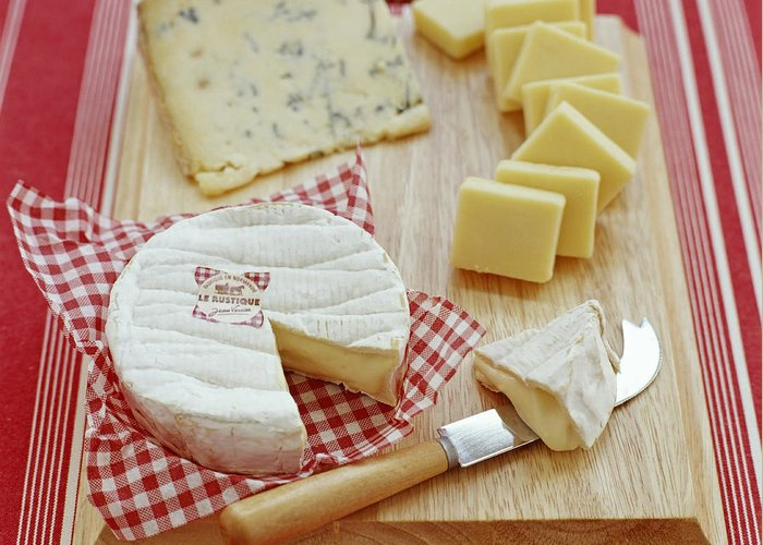 Camembert Greeting Card featuring the photograph Cheese Selection by David Munns