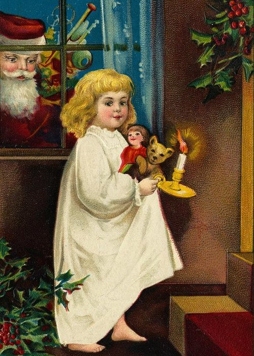 Christmas Card Greeting Card featuring the painting Christmas Card by American School