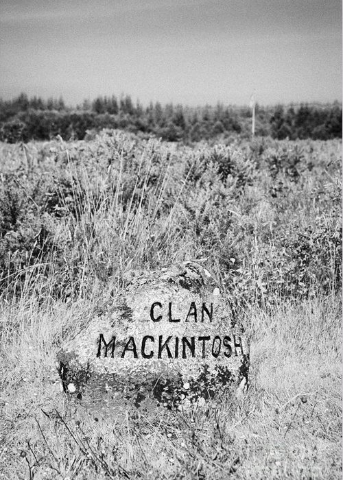 Memorial Greeting Card featuring the photograph clan mackintosh memorial stone on Culloden moor battlefield site highlands scotland by Joe Fox