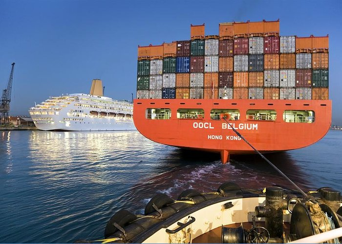 Oocl Belgium Greeting Card featuring the photograph Container Ship by Paul Rapson