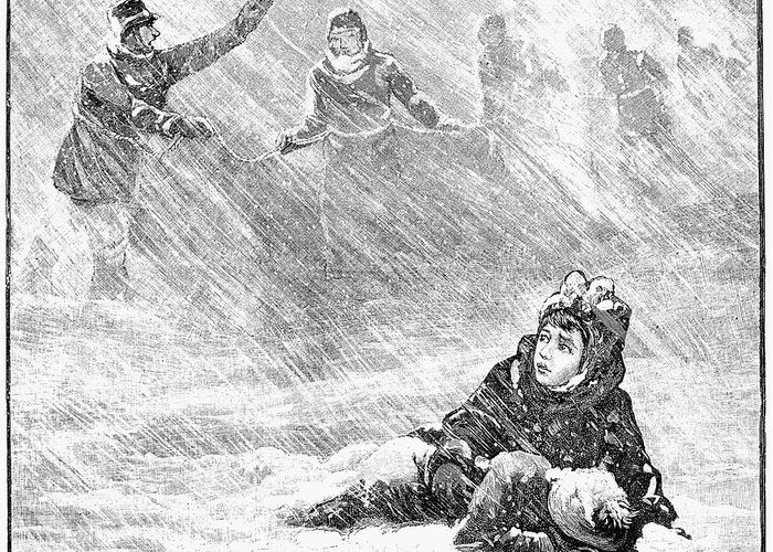 1888 Greeting Card featuring the photograph Dakota Blizzard, 1888 by Granger
