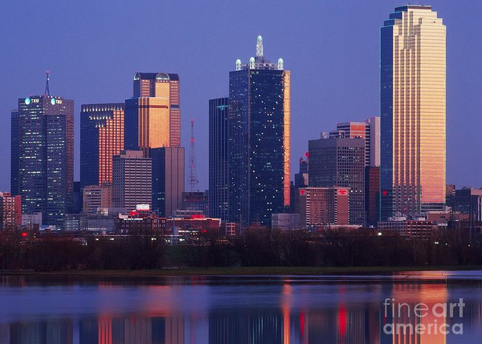 Architecture Greeting Card featuring the photograph Dallas Skyline Reflected In Pond At Dusk by Jeremy Woodhouse