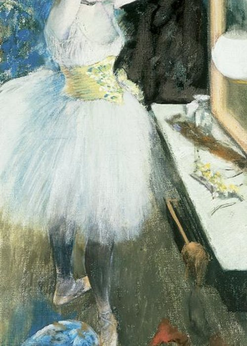 Dancer In Her Dressing Room Greeting Card featuring the pastel Dancer In Her Dressing Room by Edgar Degas