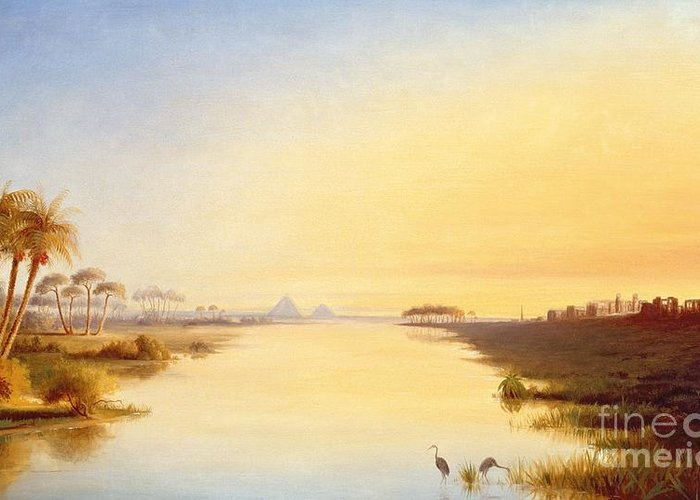 Egyptian Oasis Greeting Card featuring the painting Egyptian Oasis by John Williams