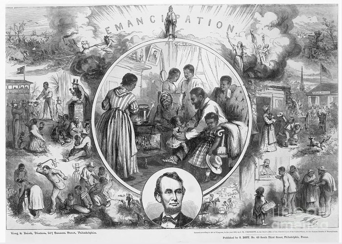 1865 Greeting Card featuring the photograph Emancipation Proclamation by Granger