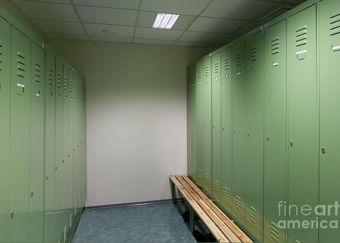 Architecture Greeting Card featuring the photograph Empty Locker Room by Jaak Nilson