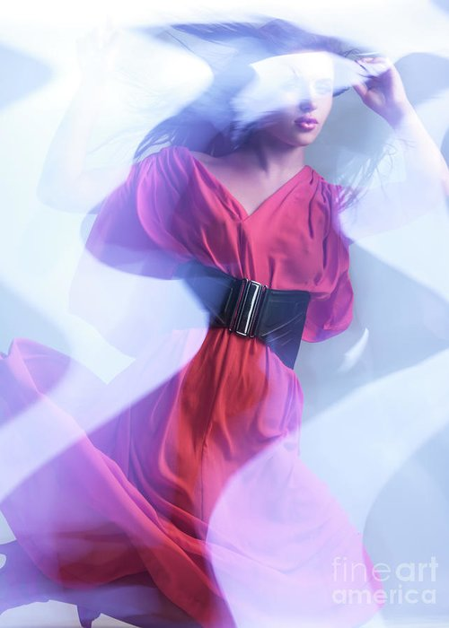 Fashion Greeting Card featuring the photograph Fashion Photo Of A Woman In Shining Blue Settings Wearing A Red by Oleksiy Maksymenko