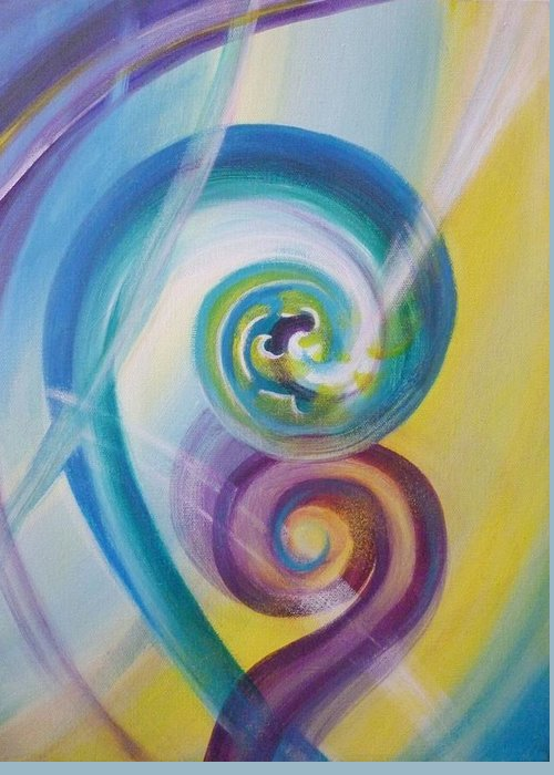 Reina Cottier Greeting Card featuring the painting Fusion by Reina Cottier