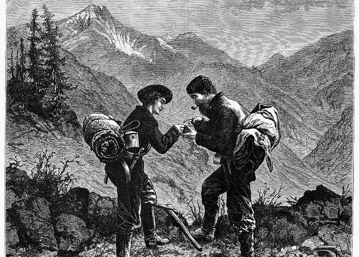 1876 Greeting Card featuring the photograph Gold Prospectors, 1876 by Granger