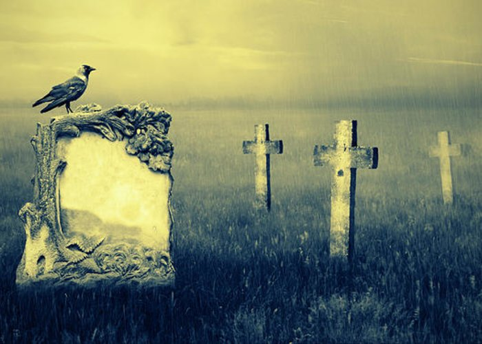 Ancient Greeting Card featuring the photograph Gravestones In Moonlight by Jaroslaw Grudzinski