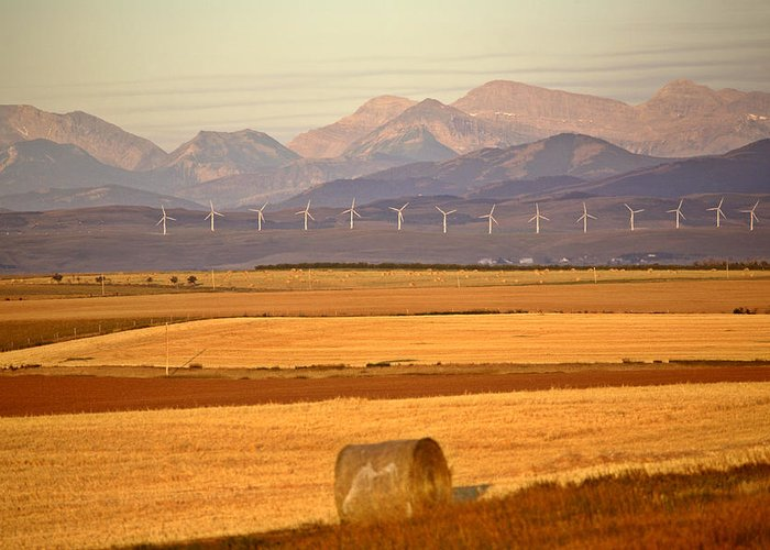 Hay Greeting Card featuring the photograph High Plains Of Alberta With Rocky Mountains In Distance by Mark Duffy