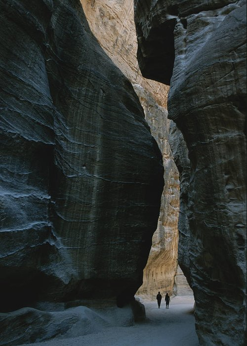 Asia Greeting Card featuring the photograph Hikers In The Siq Canyon Leading by Gordon Wiltsie