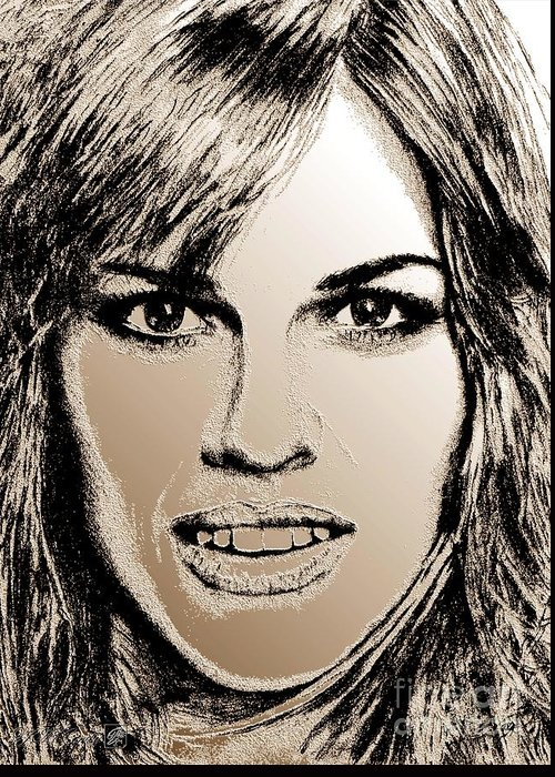 Hilary Swank Greeting Card featuring the digital art Hilary Swank In 2007 by J McCombie