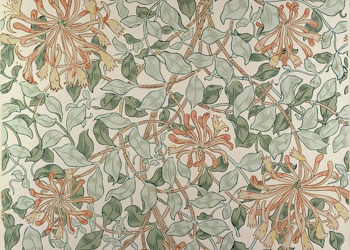 Arts And Crafts Movement; Floral; Pattern; Print Greeting Card featuring the tapestry - textile Honeysuckle Design by William Morris