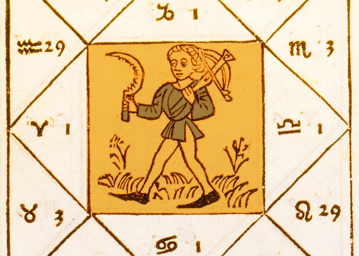 Astrology Greeting Card featuring the photograph Horoscope Types, Engel, 1488 by Science Source