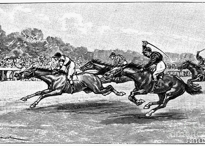1900 Greeting Card featuring the photograph Horse Racing, 1900 by Granger