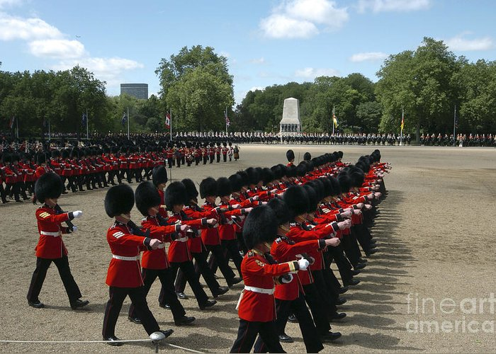 British Army Greeting Card featuring the photograph Irish Guards March Pass During The Last by Andrew Chittock