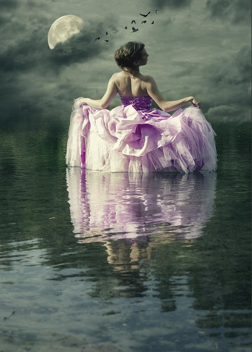 Female Greeting Card featuring the photograph Lady In The Lake by Joana Kruse