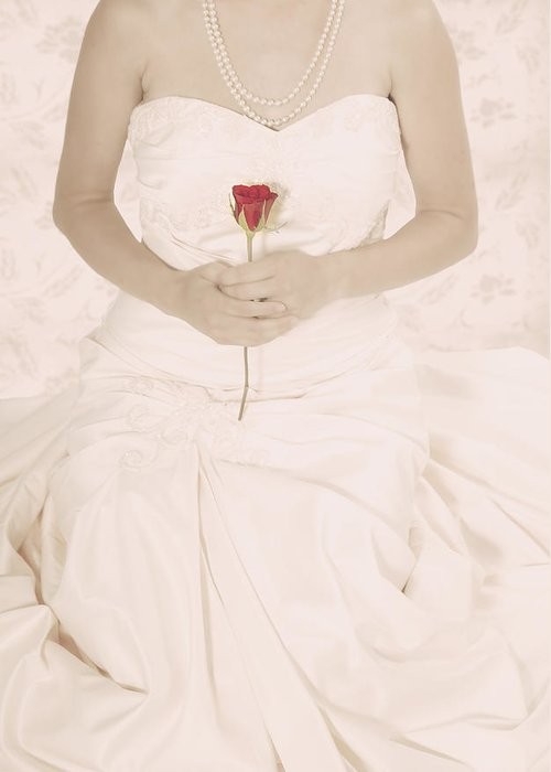 Female Greeting Card featuring the photograph Lady With A Rose by Joana Kruse