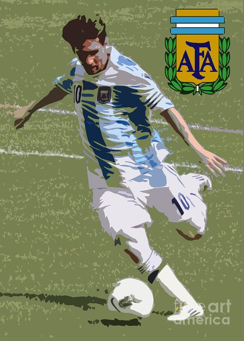 Lee Dos Santos Greeting Card featuring the photograph Lionel Messi The Kick Art Deco by Lee Dos Santos
