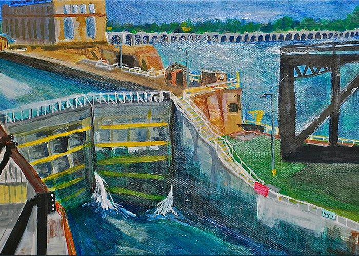 Dam Greeting Card featuring the painting Lock And Dam 19 by Jame Hayes