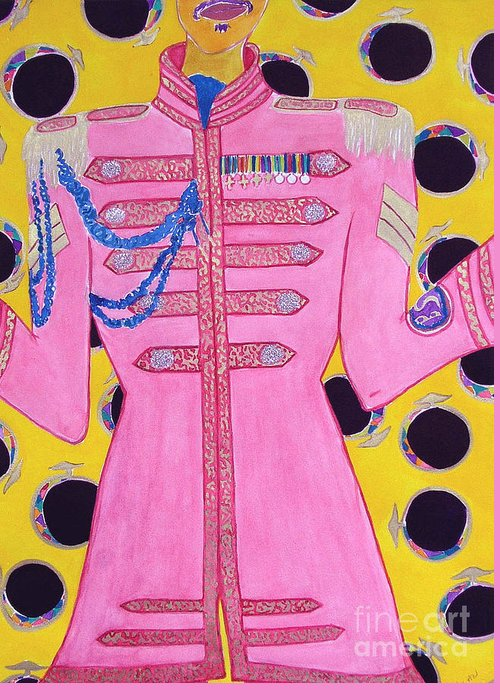 Beatles Greeting Card featuring the painting Lonely Hearts Club Member Ringo by Barbara Nolan