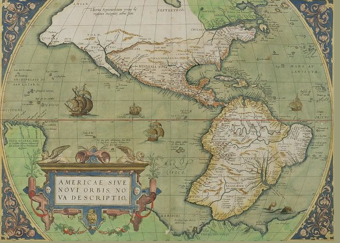 Maps Greeting Card featuring the drawing Map Of North And South America by Abraham Ortelius