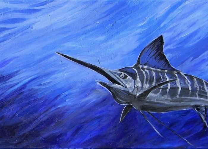 Fish Greeting Card featuring the painting Marlin by Jenn Cunningham