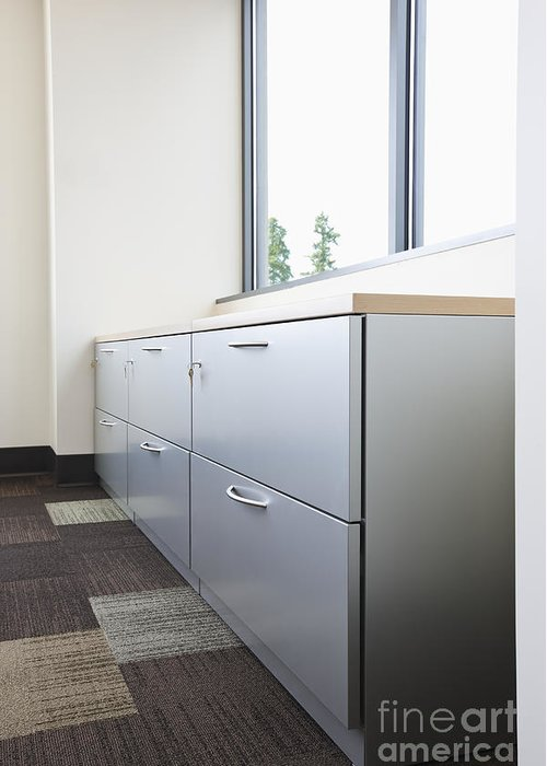Architecture Greeting Card featuring the photograph Metal Drawers And Shelf by Jetta Productions, Inc