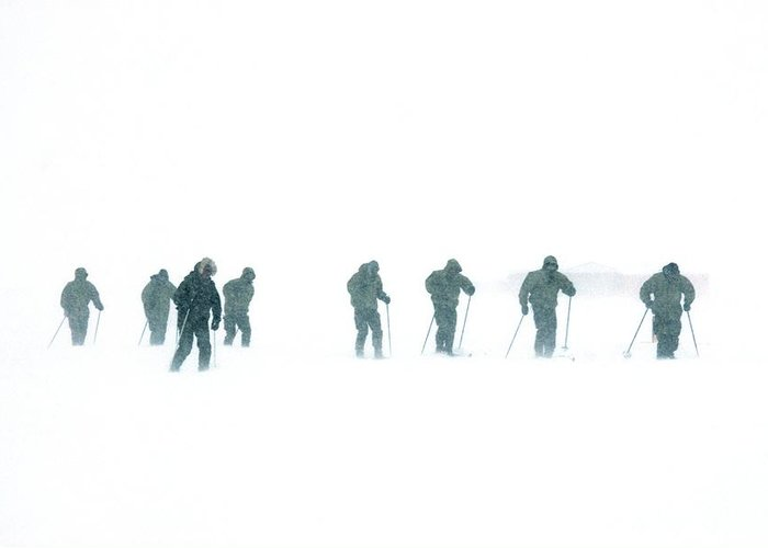 Snow Greeting Card featuring the photograph Military Arctic Survival Training by Louise Murray