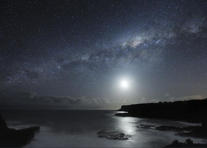 Milky Way Greeting Card featuring the photograph Milky Way Over Mornington Peninsula by Alex Cherney, Terrastro.com