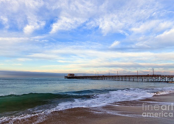 Balboa Greeting Card featuring the photograph Newport Beach Pier by Paul Velgos