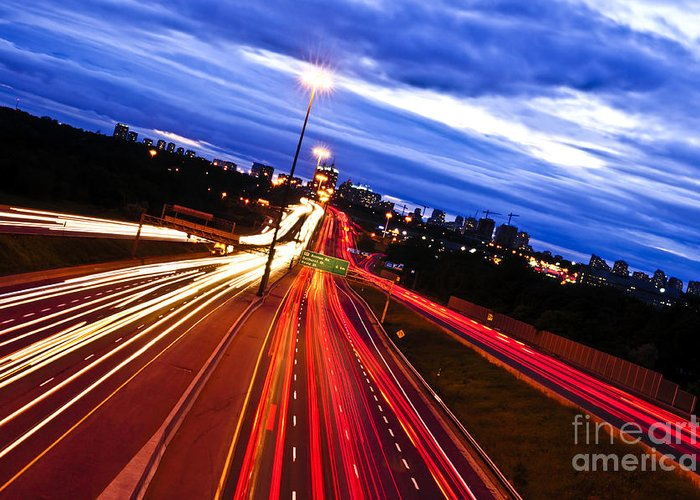 Traffic Greeting Card featuring the photograph Night Traffic by Elena Elisseeva